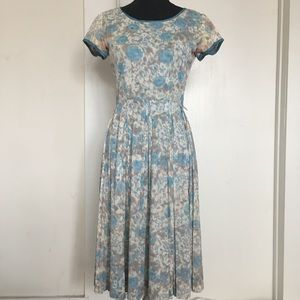 Vintage 1950s Pleated Baby Blue Dress